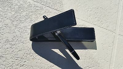 Luxurious Black Hand Made Genuine Calfskin Leather Pen Case