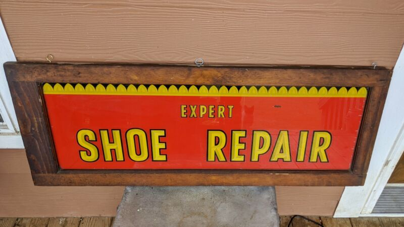 Antique Expert Shoe Repair Window Sign