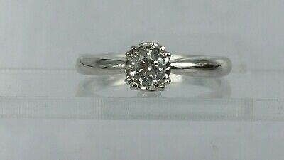 Stunning Diamond solitaire + 2 ring in 18ct white gold 0.33 carat boxed