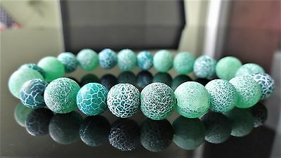 """Genuine Crackled Green Agate bead bracelet for MEN on Stretch 10mm - 8"""" inch AAA"""