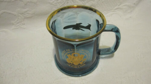 """PRESIDENT OF THE UNITED STATES """"AIR FORCE ONE"""" Cobalt Blue Glass Mug"""