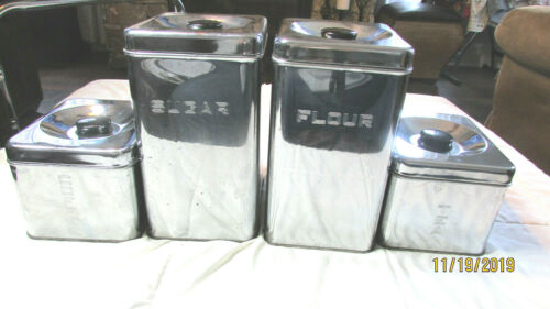 VINTAGE MID CENTURY LINCOLN BEAUTYWARE 4 PC CANISTER SET FLOUR SUGAR TEA COFFEE