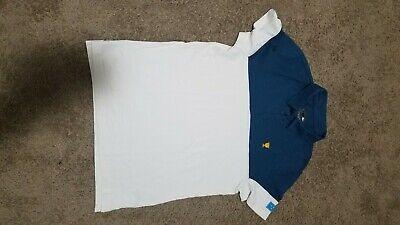 Men Medium Size 4 Lacoste Sport Roland Garros Edition White & Blue Polo Shirt