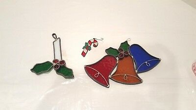 Vintage 3 Leaded Stained Glass Bells, Candy Cane Candle Ornaments Sun catchers