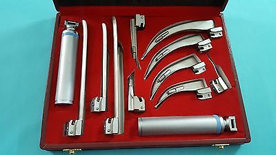 Premium Grade Laryngoscope Macintosh Mac Miller Set Of 10 Blades And 2 Handles
