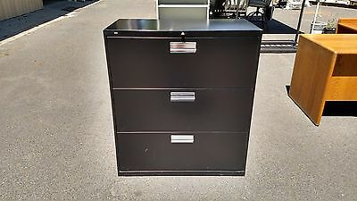 """*FILE CABINET 3 DRAWER LATERAL 36""""w Black with Key & Lock HON WeDeliverLocallyCA"""