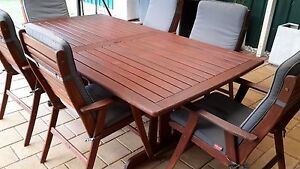 Outdoor 7 piece Jarrah setting Oakden Port Adelaide Area Preview