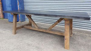 NEW INDUSTRIAL RECYCLED VINTAGE RUSTIC TIMBER DARK ZINC STEEL DINING TABLE