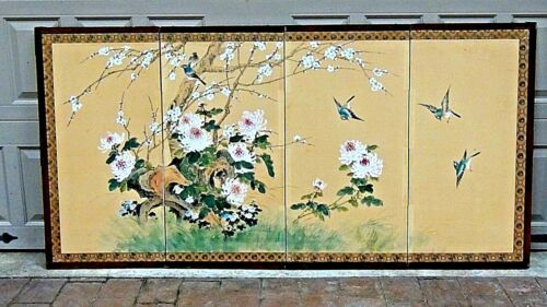 EARLY 20c CHINESE 4 PANEL SCREEN  with FLOWERS and BIRDS