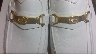 GUCCI AUTHENTIC VINTAGE MEN'S SHOES LOAFERS WHITE LEATHER GG GOLD 7.5 US