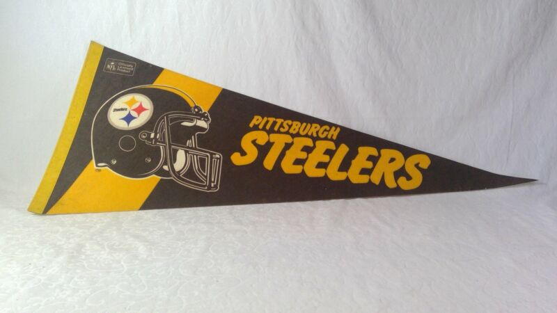 Vintage NFL Sport Felt Pennant Banner Flag Football Pittsburgh Steelers