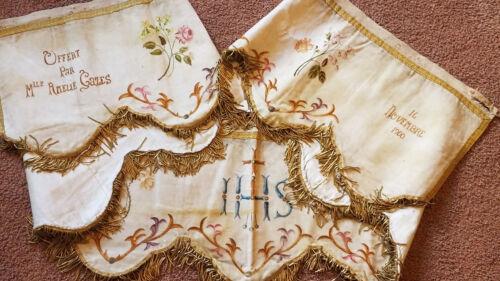 Antique FRENCH PELMET Valance Velvet painted floral gold bullion IHS Altar Cloth