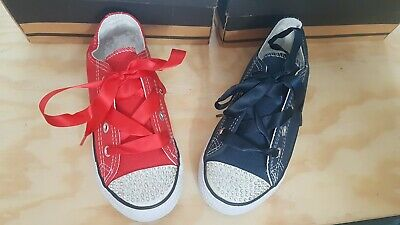 Girls Sparkly Diamonte Red or Navy Silk Lace Pumps Trainers 8 9 10 11 12 13 1 2  ()