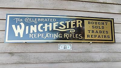 "NEW!!  1880'S STYLE WINCHESTER REPEATING RIFLES DEALER SIGN/AD 1'X46"" ALUM PANEL"