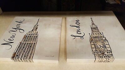 Two Caitlin Dundon New York And London Prints On Canvas