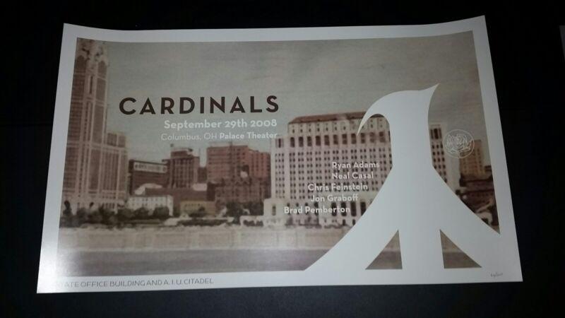 RYAN ADAMS Columbus 2008 Numbered #/200 Tour Poster Cardinals Lithograph Print