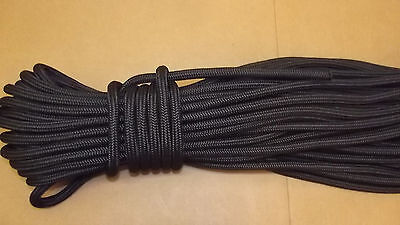 "NEW 1/2"" (12mm) x 150' Double Braid Static Line, Safety Rope, Black"