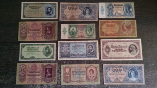 Hungary  Pengo collection lot 12 banknote 1930-1946