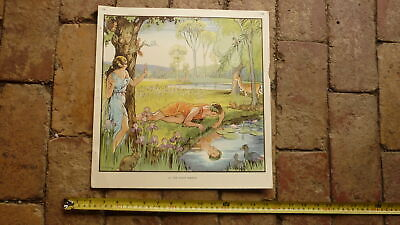 ORIGINAL 1940s AUSTRALIAN CHILDRENS BEDROOM LARGE ARTWORK PRINT, THE 1st MIRROR for sale  Shipping to United States