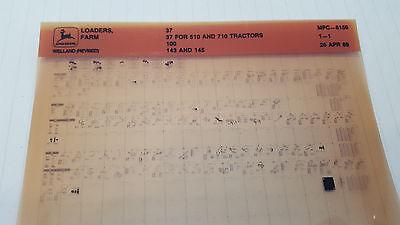 John Deere Parts Catalog Tractor Loaders 37 100 143 145 Microfiche Fiche Manual