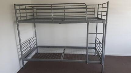 Bunk Bed, silver metal frame (no mattress)