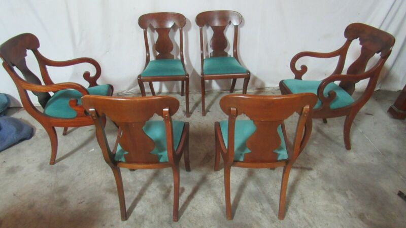 Set Empire Mahogany Antique Dining Room Chairs
