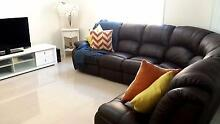 Chocolate brown 7 seater leather chaise and 3 seater lounge set Bankstown Bankstown Area Preview