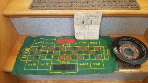 Vintage Metro Games Roulette Mfg Co. Metal/Wood Wheel, Metal Ball, Bet Cloth