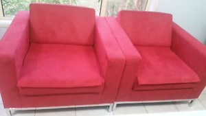Set of 4 Red Warwick Macrosuede Armchairs Edensor Park Fairfield Area Preview