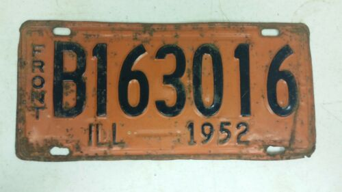 1952 ILLINOIS License Plate B163016