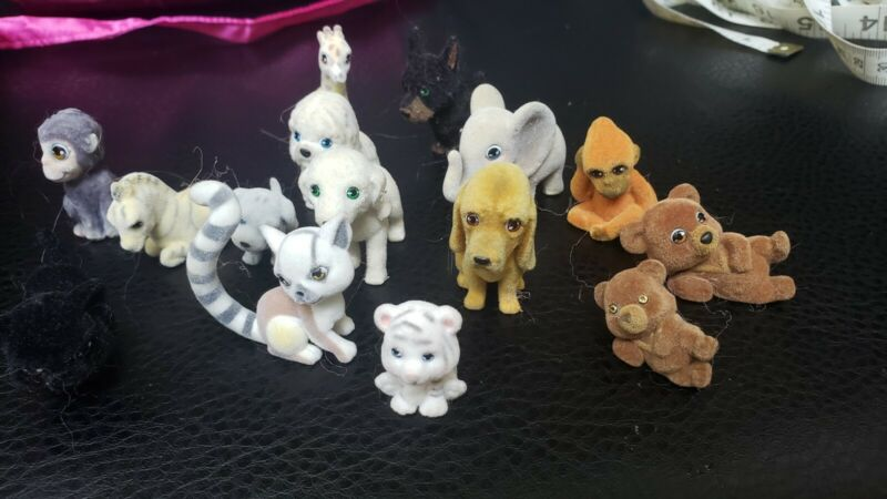 Vintage Lot Flocked Mini Wild Animals with pink satin bag