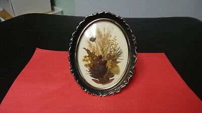 Oval Framed Dried Flowers= Glass Hanging  -