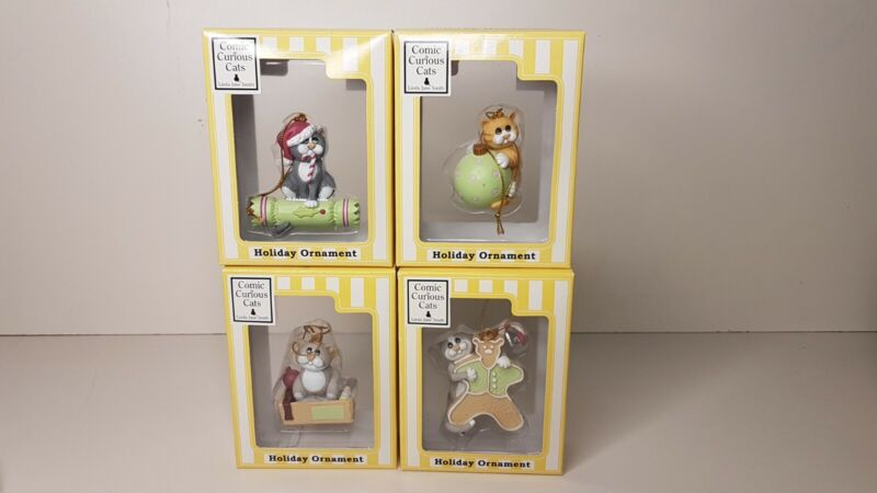 Lot of 4 Comic & Curious cat Christmas tree ornament Linda Jane Smith
