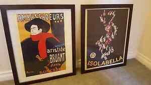 2x vintage art liquor posters framed Yarraville Maribyrnong Area Preview