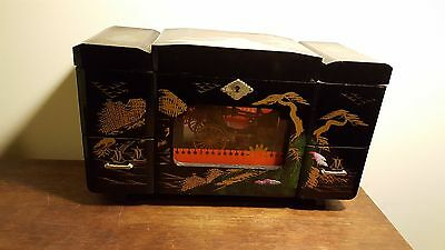 Vintage JAPANESE  BLACK LACQUER JEWELRY Music BOX w MOVING RICKSHAW  TOYO