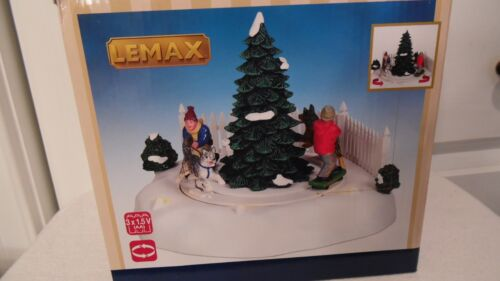 lenax skate board musher lighted/animated christmas village  table accent