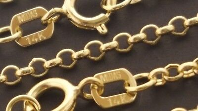 (14 k Solid Yellow Gold 1.7 mm Rolo Chain Necklace  16