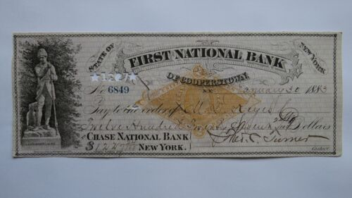 $1227.24 1883 Cooperstown New York NY Cancelled Check! First National Bank