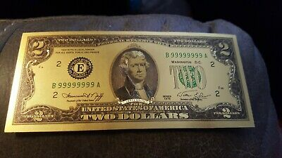 - Beautiful 24k Gold Foil $2 Bill. For Collectors Only, No Cash Value!!