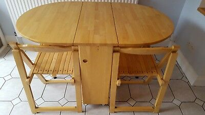 John Lewis folding drop-leaf dining table and 4 chairs (pine/wood) for sale  London