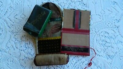 LOT OF 3 VINTAGE SEWING KITS CONTAINERS - METAL / LEATHER & MATERIAL / CARDBOARD