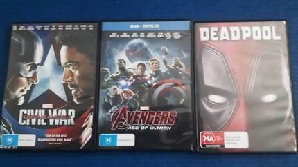 Avengers, Civil War, Deadpool Dvd $25 lot
