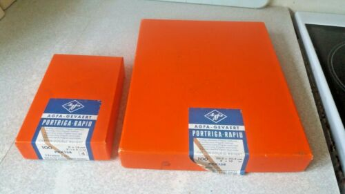 RARE- 2 BOXES AGFA - PORTRIGA  RAPID- PRK 138 - PHOTOGRAPHIC DEVELOPING PAPER