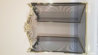 3 Panel Fireplace Screen brass frame with netted screen Framed Fireplace Screen