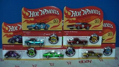 HOT WHEELS 2018  50 ANNIVERSARY RED LINE SET OF 5 CAMARO MUSTANG +3 IN STOCK
