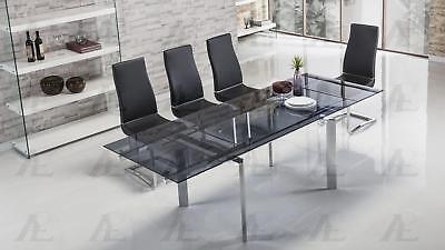 Smoked Glass Top Extendable Dining Table Chrome Legs American Eagle TL-1134S-BL ()