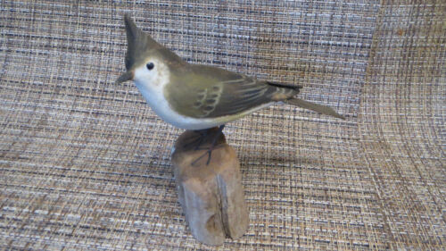 Vintage Peter Peltz Carved & Painted Wood Folk Art Tufted Titmouse Song Bird