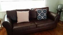 Chocolate Leather three seater Couch Rosewater Port Adelaide Area Preview