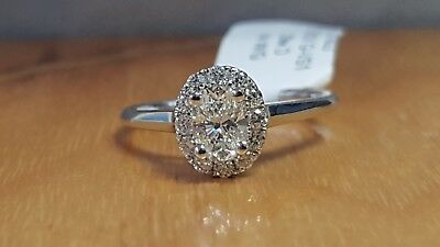 Natural OVAL Diamond G-VS1 GIA Halo 14k W Gold Engagement Ring .72 ctw Sz 6.5  10
