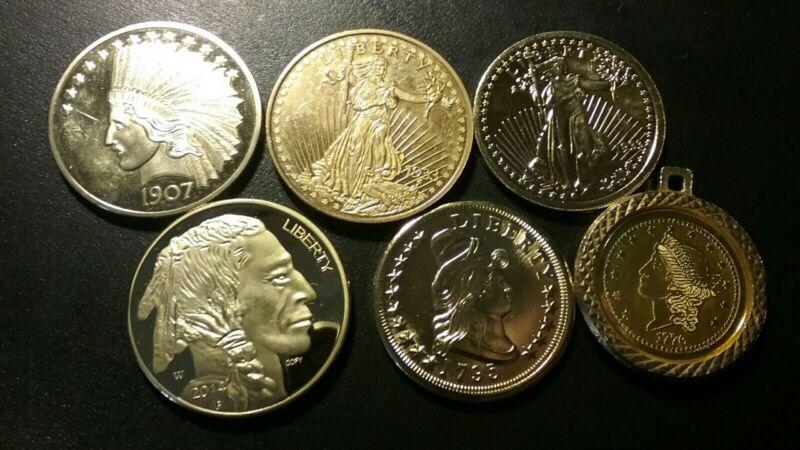 LOT OF 6 U.S  EXONUMIA / FANTASY COINS .